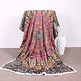 Sleepwish Sherpa Throw Blanket Mandala Hippie Concealed Bed Blankets 60 x 80 Inch