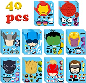 MALLMALL6 40Pcs Superhero Make a Face Stickers Party Favors Games Superheroes Birthday Party Supplies Captain Sticker Comics Hero League Room Decorations Wall Decals DIY Crafts for Kids Boys Girls