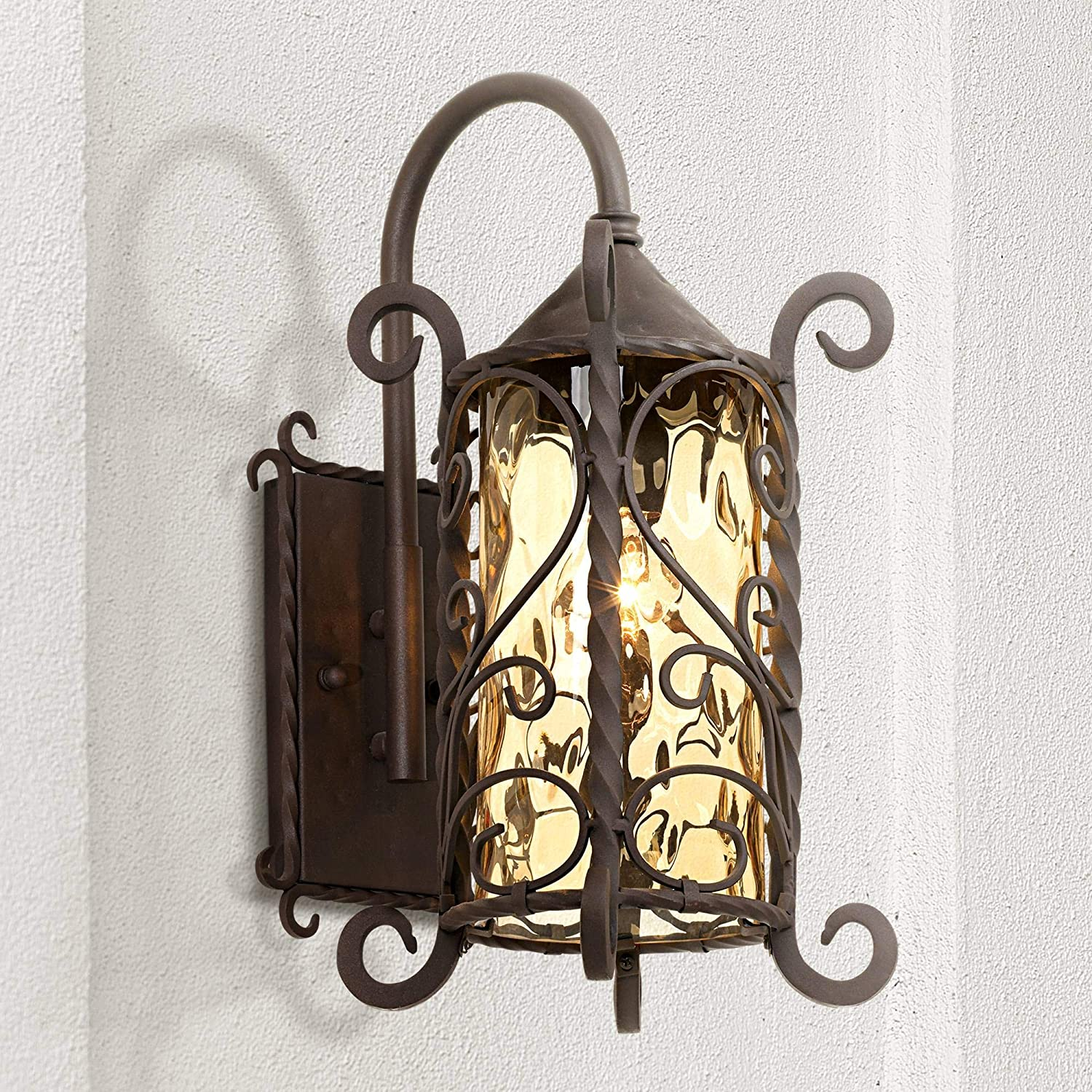 "Casa Seville Rustic Outdoor Wall Light Fixture Mediterranean Inspired Dark Walnut Iron Twists 18 1/2"" Champagne Hammered Glass for Exterior House Porch Patio Deck - John Timberland"