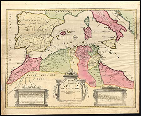 Map Of Spain And North Africa.Antique Map North Africa Mediterranean Morocco Libya Italy Spain De