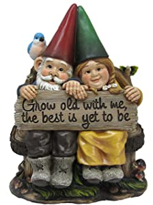 "Grow Old with Me Mr and Mrs Gnome Couple Statue 11"" Tall for Patio Garden Lawn Home Decor Figurine"