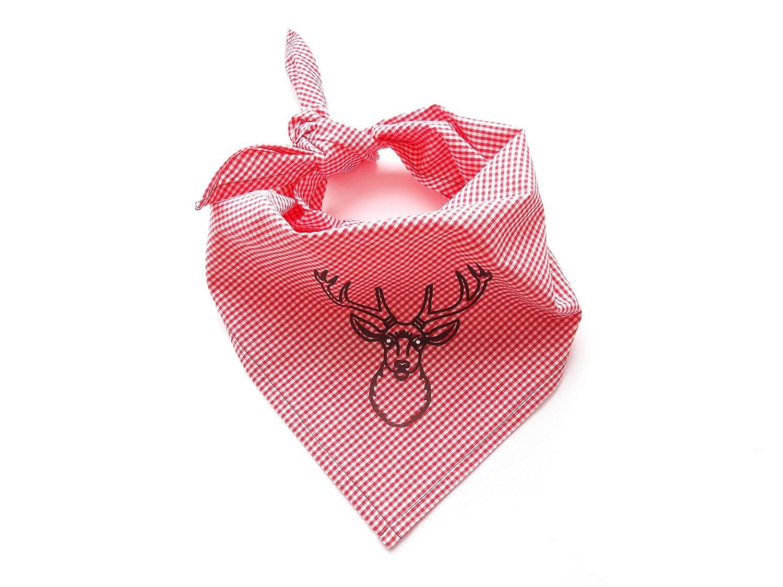 Trachtenhalstuch Trachtentuch Hirsch rotes Halstuch Moda Bavarica Damen Herren Kinder