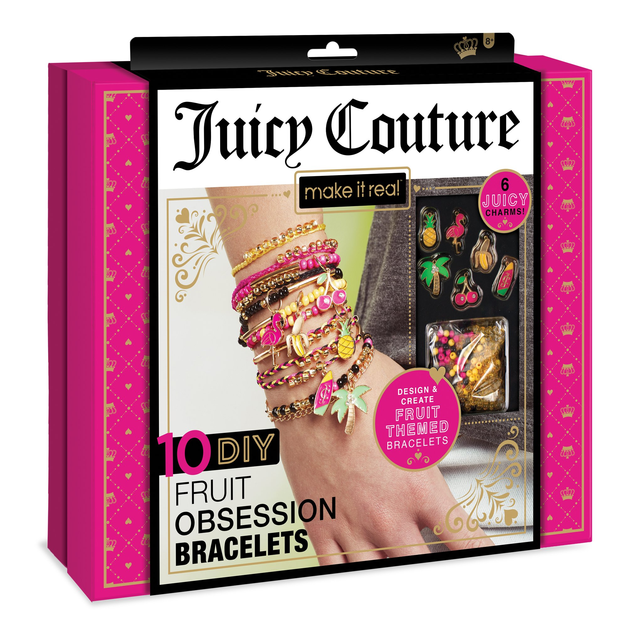 Make It Real Juicy Couture Fruit Obsessions Bracelets. DIY Bracelet Making Kit for Girls. Design and Create Girls Bracelets with Juicy Couture Charms, Beads, Gold Bangle, Nylon and Cotton Threads