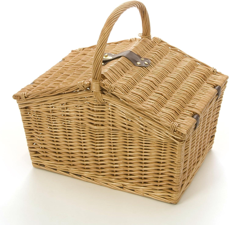 Amazon.com: 4 persona cesta de Picnic mimbre Beige: Jardín y ...
