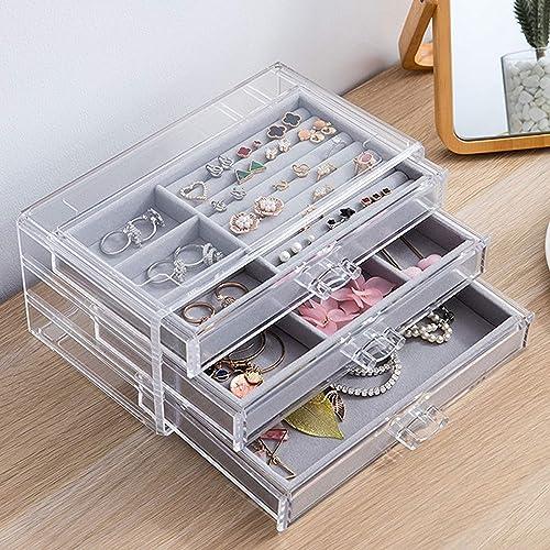Jewelry Organizer Acrylic Jewelry Box 3 Drawers Velvet Jewelry Drawer Organizer Earring Rings Necklaces Bracelets Display Case Gift For Women Grey Amazon Ca Jewelry