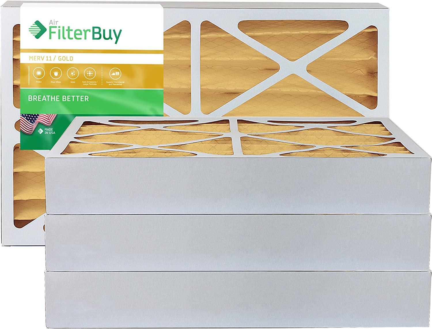 FilterBuy 20x20x4 MERV 11 Pleated AC Furnace Air Filter, (Pack of 4 Filters), 20x20x4 – Gold