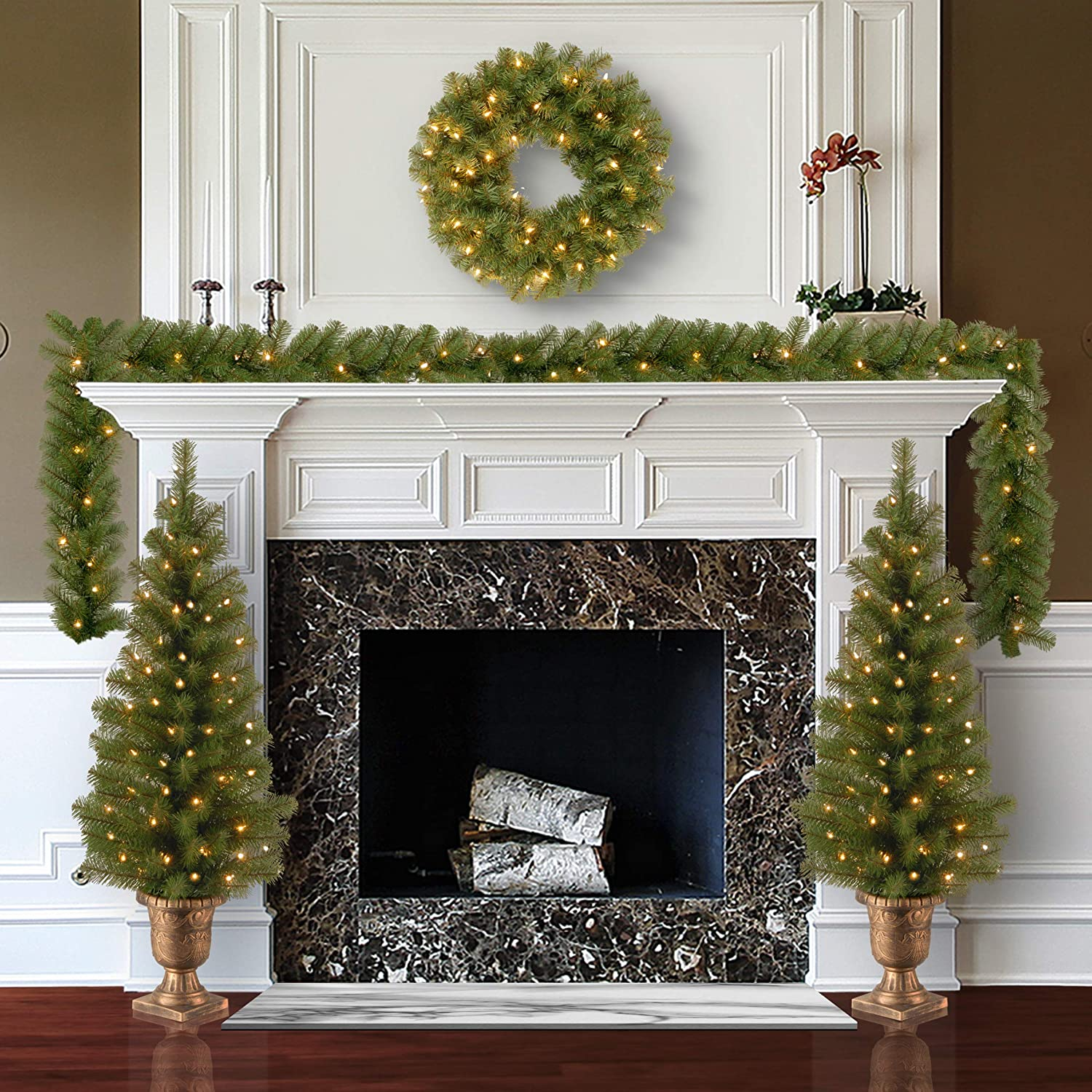 National Tree Company Pre-lit Holiday Christmas 4-Piece Set | Garland, Wreath and Set of 2 Entrance Trees