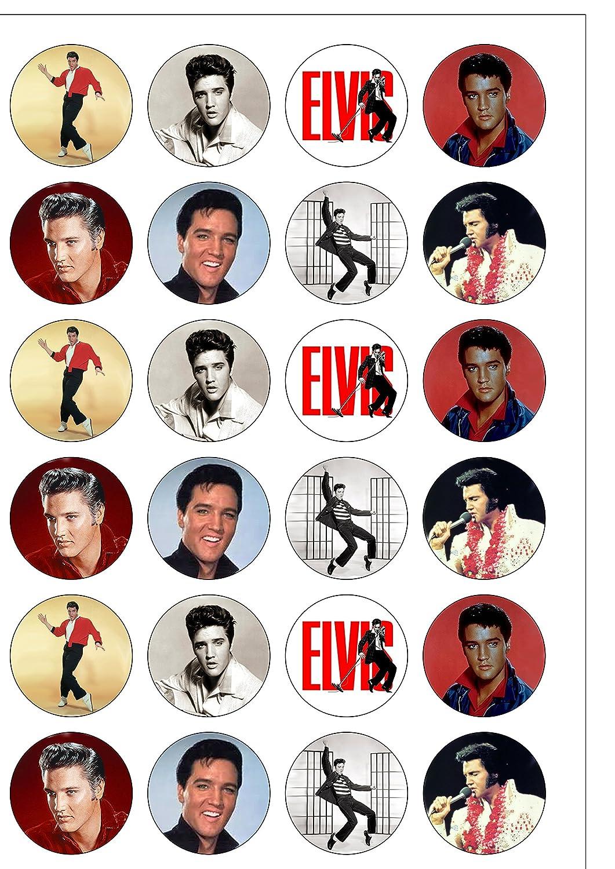 Lot de 24 d/écorations Elvis Presley The King plaquette comestibles Papier Cake Toppers d/écorations