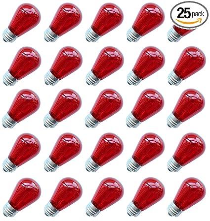 Pack of 12 11-Watt String Light Company S1411WR Red S14 Light Bulb with E26 Base