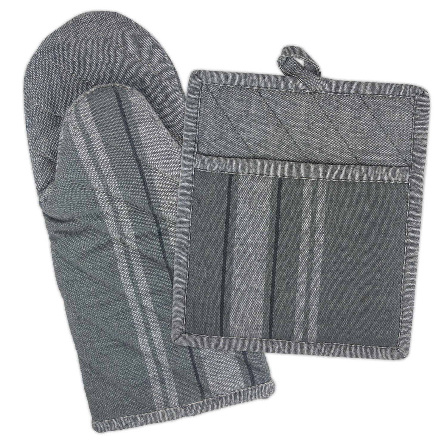 DII 100% Cotton, Machine Washable, Everyday Kitchen Basic, Farmhouse, Country French Stripe Oven Mitt and Pocket Mitt/Pot Holder Gift Set, Chambray Gray