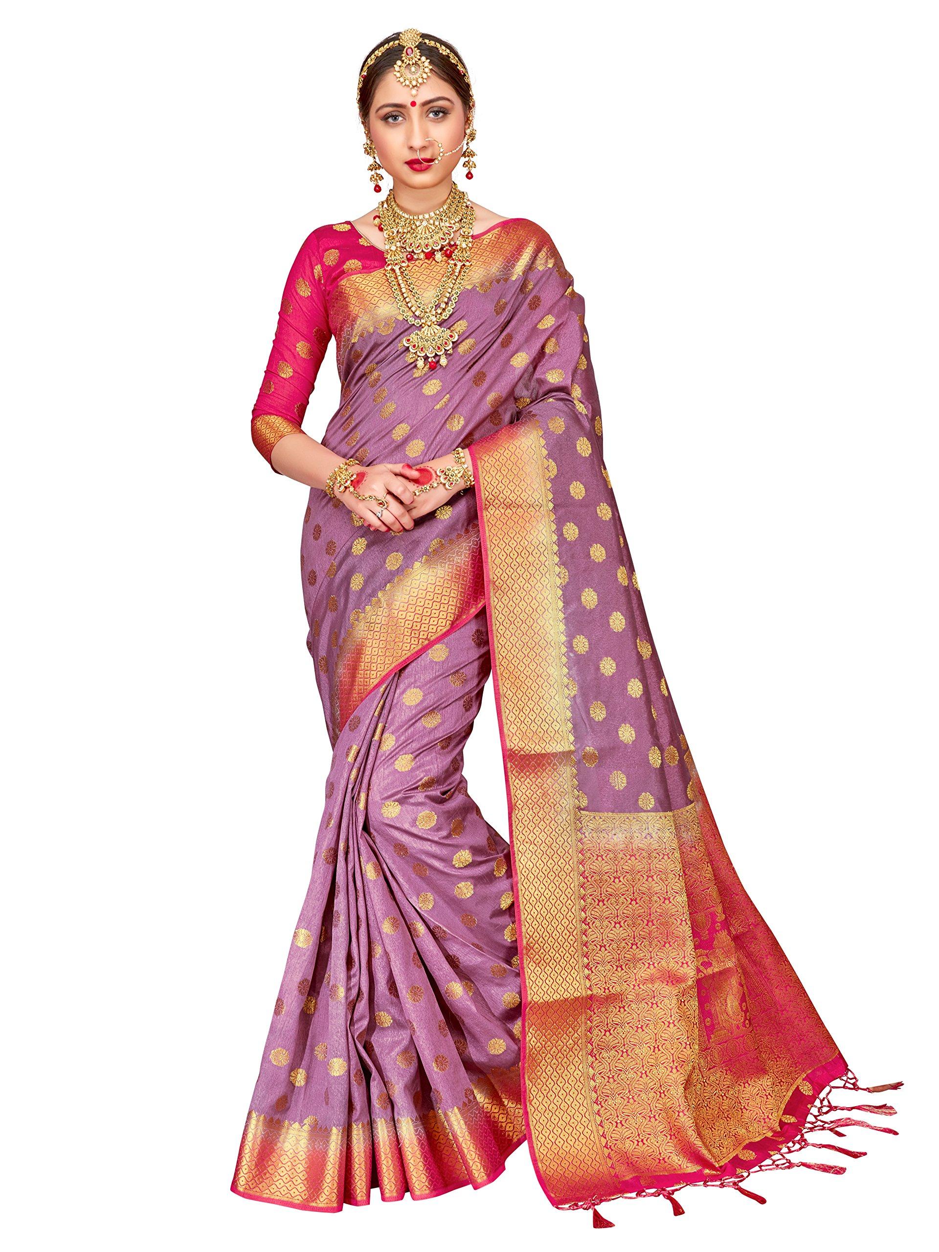 ELINA FASHION Sarees for Women Banarasi Art Silk Woven Work Saree l Indian Wedding Ethnic Wear Sari & Blouse Piece (Violet)