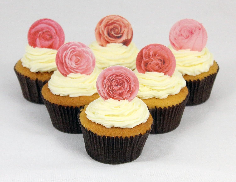 12 x Cakeshop decoraci/ón para pasteles comestibles PRECORTADAS de Flores rosadas