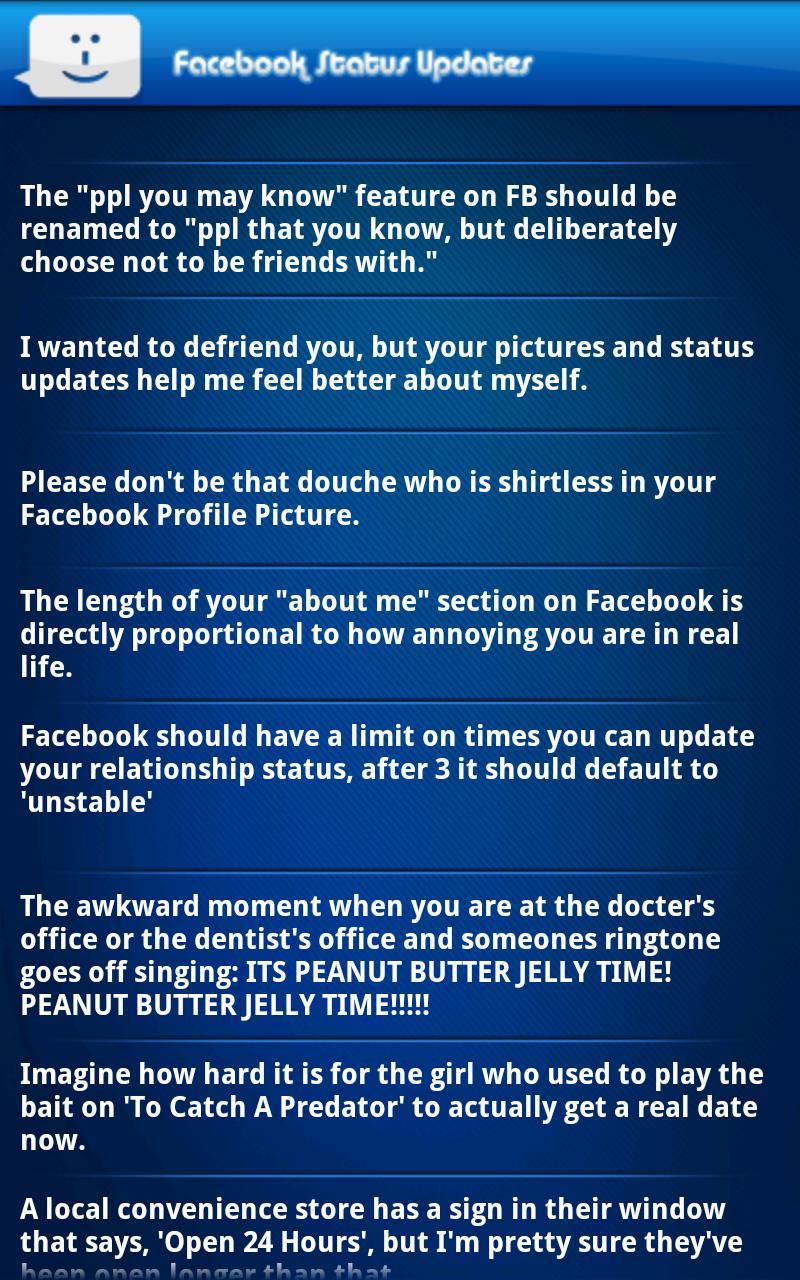 Funny Status Updates for Facebook
