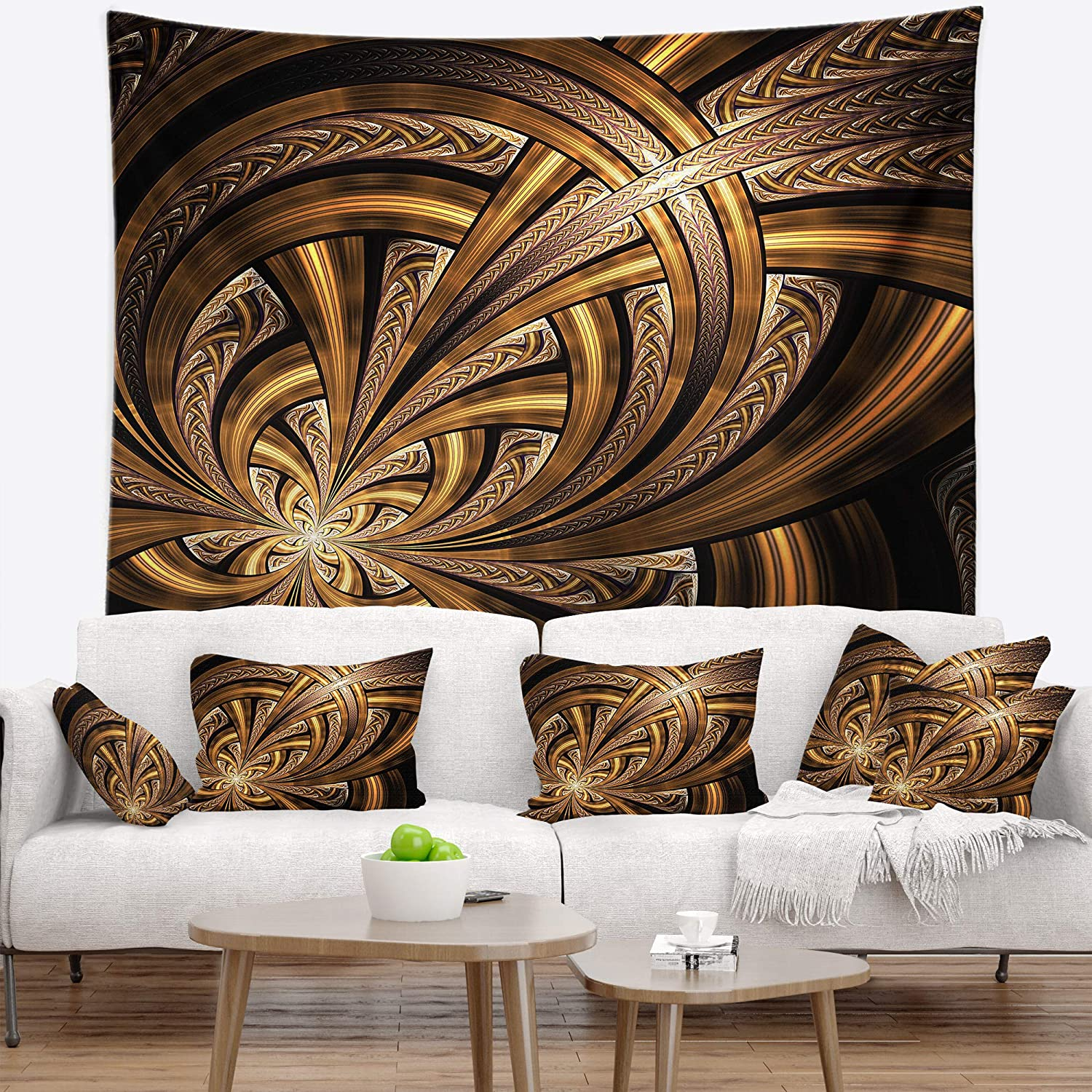 Designart TAP16477-39-32 Dark Orange Fractal Flower Abstract Blanket D/écor Art for Home and Office Wall Tapestry x 32 in Created On Lightweight Polyester Fabric Medium: 39 in