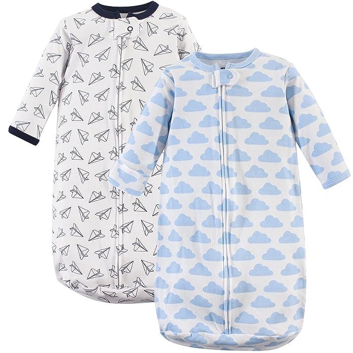 Hudson Baby Unisex Baby Cotton Long Sleeve Wearable Sleeping Bag Sack Blanket - Paper Airplane 3-9M
