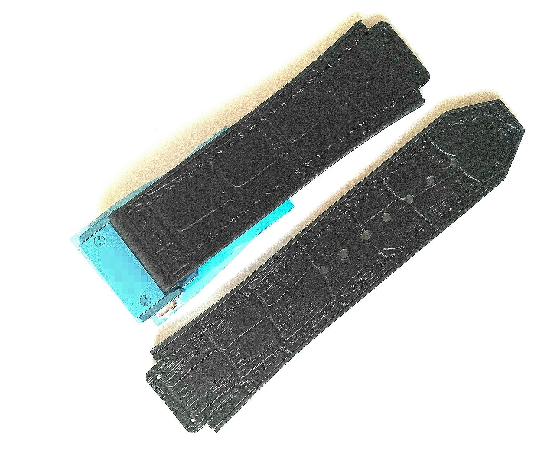 ブラックラバー&レザーAlligator Grain時計バンドストラップOEMスタイルフィットウブロビッグバン – 25 mm x 19 mm  B078G341L5