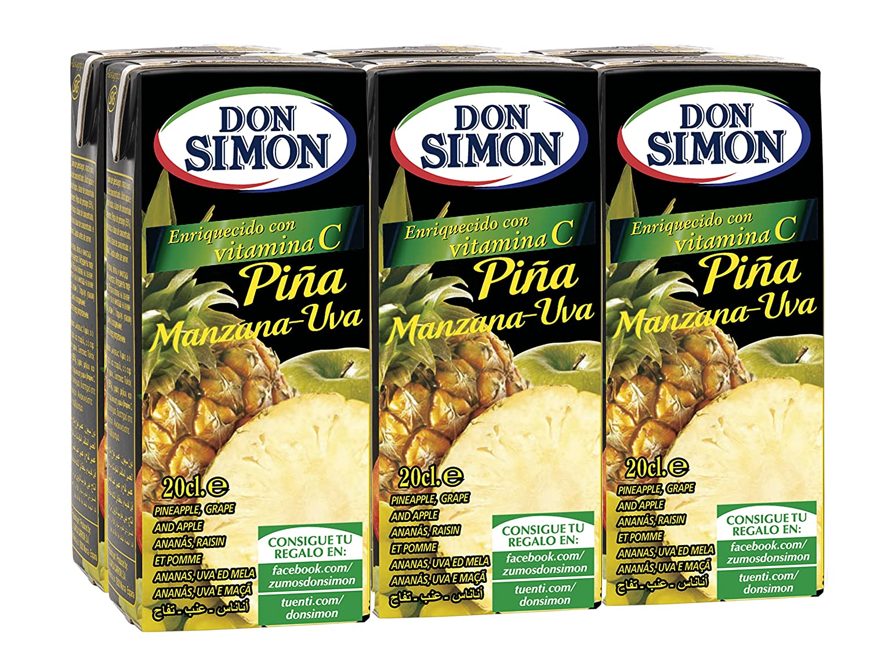 Don Simon Zumo de Piña, Manzana y Uva - Pack de 6 x 20 cl - Total: 120 cl: Amazon.es: Amazon Pantry
