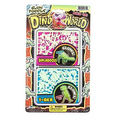 JARU, Inc. Dino World Glow Fossils, Diplodocus and T-Rex: Toys & Games