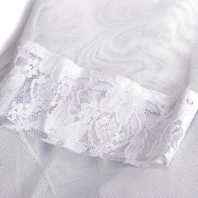 fb089063b7 UTOVME 3 Piezas Lencería Mujer con Vestido Corto de Encaje + Tanga + Capa  de Gasa Fina (Blanco - M)  Amazon.es  Ropa y accesorios