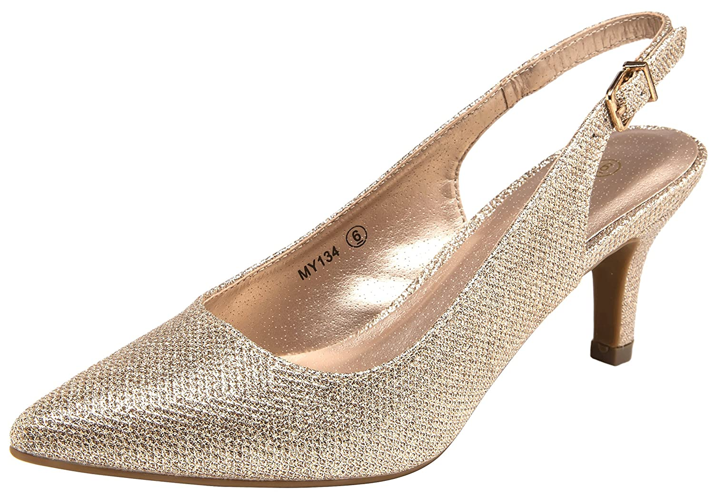 4c0eac25411b Amazon.com   VOSTEY Women Low Heel Dress Shoes Kitten Heel Slingback Pumps    Pumps