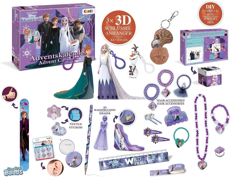 CRAZE 24652 Adventskalender Frozen II Weihnachtskalender Eiskönigin Eisprinzessin für Mädchen Spielzeugkalender, kreative Inhalte, Tolle...