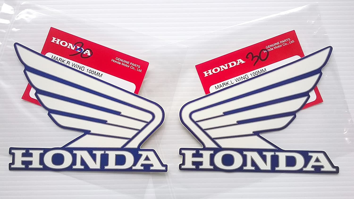 Candy Tahitian Blue Left /& Right Brand New 100/% Genuine Honda Wings Fuel Tank Gas Tank Stickers Decals 2 X 100mm White