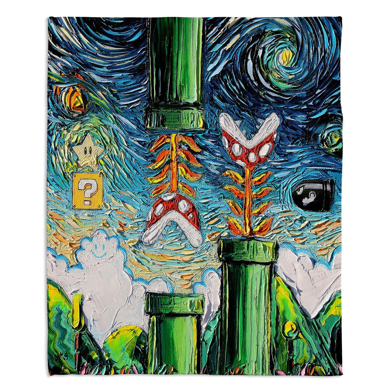 ブランケットウルトラソフトFuzzy 4サイズダイアノウチェデザインズ – Aja Ann Van Gogh Super Mario Brosホーム装飾寝室ソファスローブランケット Medium 60