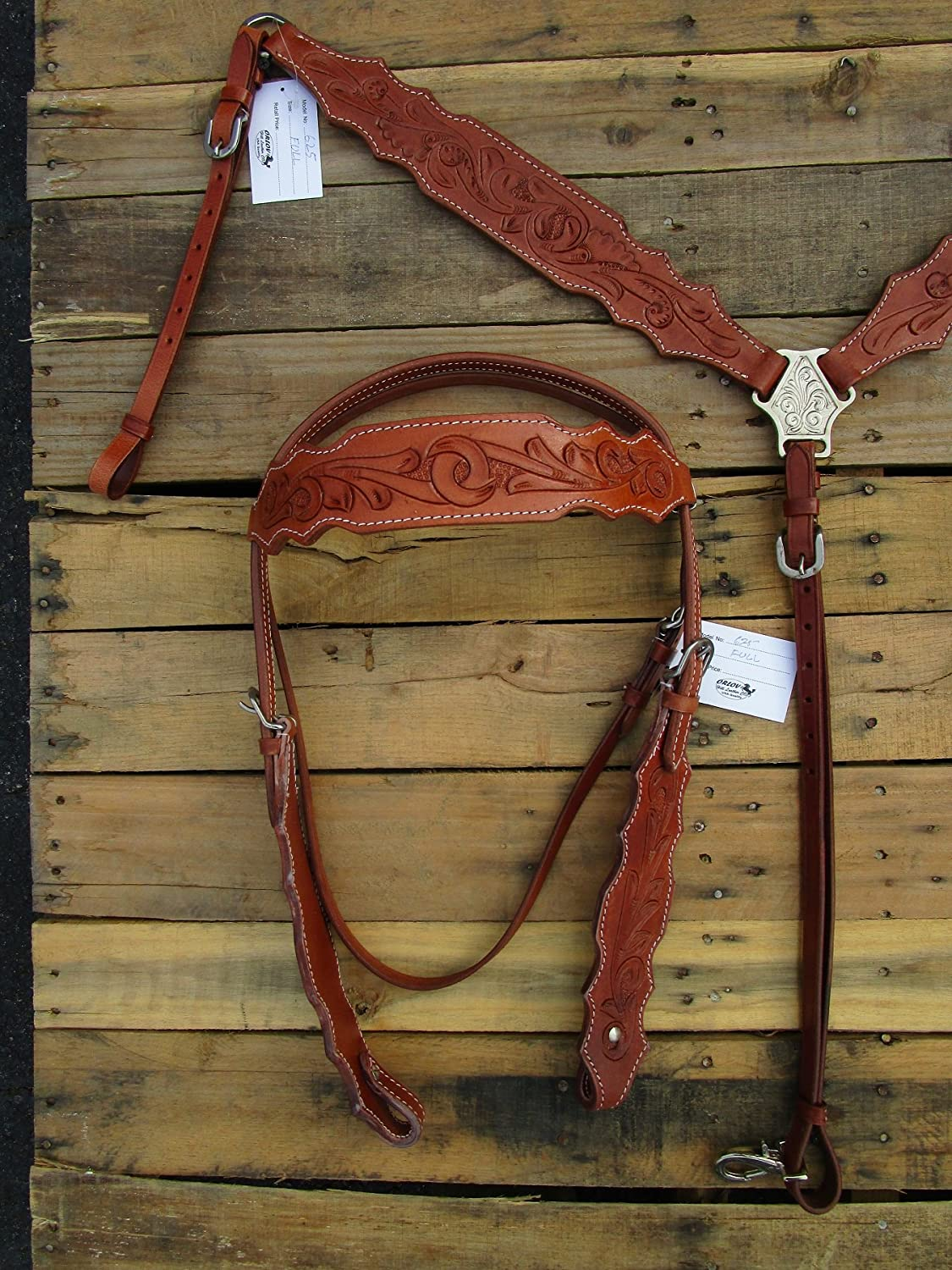 Western Headstall Breast襟セットHorse Tooledレザータック   B079Y9JQMM