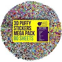 Purple Ladybug Novelty Adesivi in Rilievo 3D per Bambini Confezione Jumbo da 80 Fogli Tutti Diversi e più di 2000 Stickers | Animali, Lettere, Numeri, Emojis, Macchine, Fiori, Stelle Etc.