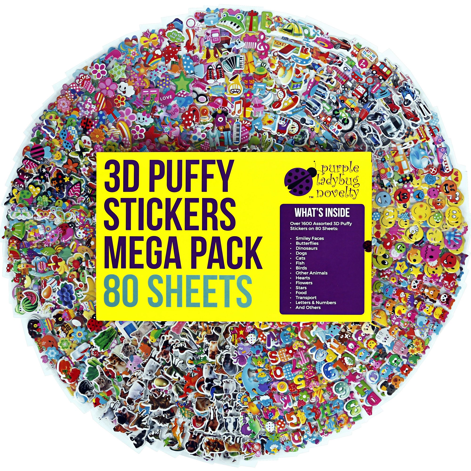 Purple Ladybug Novelty 80 Different Sheets Kids & Toddlers Puffy Stickers Mega Variety Pack - Over 1900 3D Puffy Stickers Kids - Including Animals , Smiley Faces , Cars , Stars More!