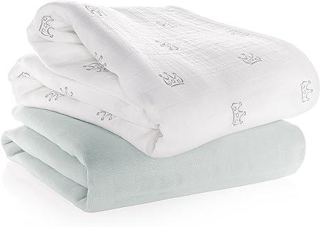 Manta de muselina / Paño algodón bebé - 2 Ud., 120x120 cm ...