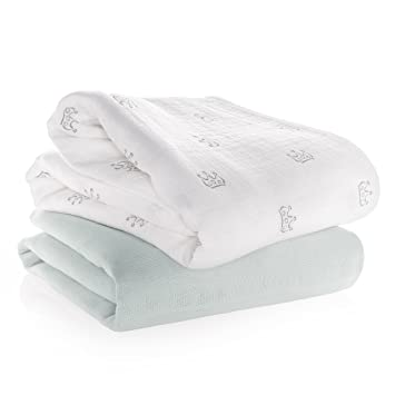 Manta de muselina / Paño algodón bebé - 2 Ud., 120x120 cm, estampado coronas gris, blanco | Tejido doble con bordes reforzados, certificado OEKO-TEX: ...