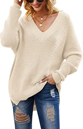 ZHENWEI Womens V Neck Long Sleeve Loose Knit Pullover Sweater Jumper Tops