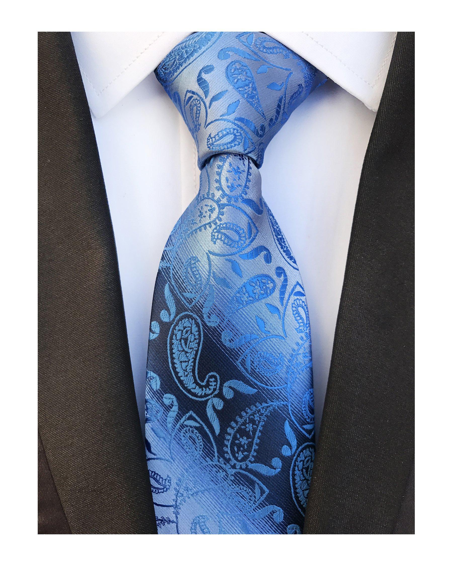 Mens Royal Blue Paisley Silk Tie Fashion Thanksgiving Dress Necktie Father's day