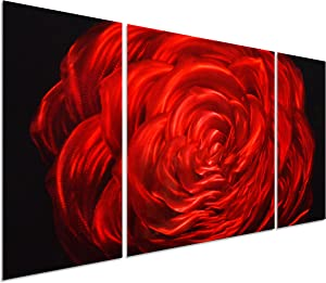 """Red Rose Flower Metal Wall Art Decor - 50""""x24"""" Decorative Floral Set of 3 Panels"""