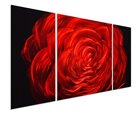 Amazon.com: Red Rose Flower Metal Wall Art Decor - 50\