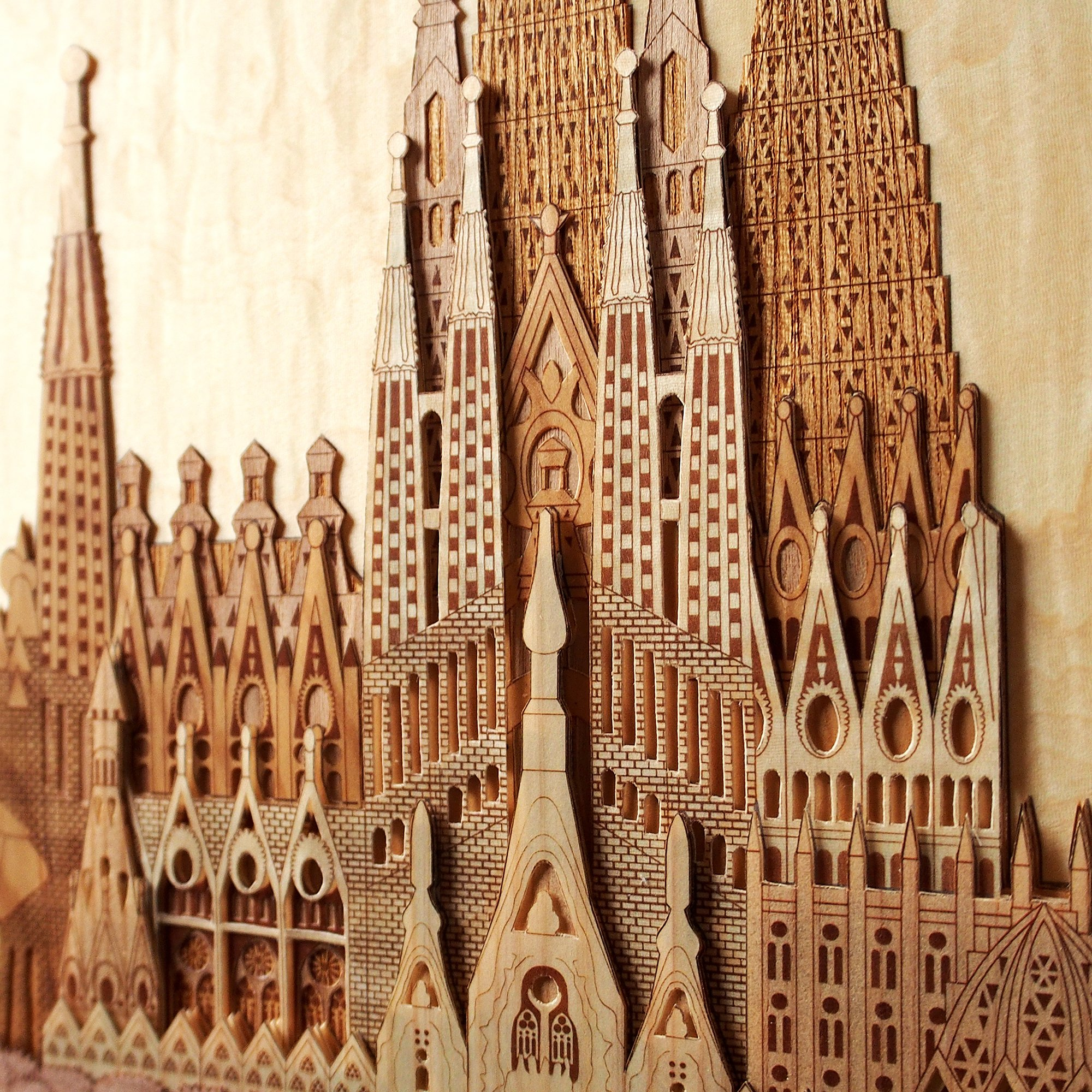 KINOWA Wooden Art Kit Kiharie Sagrada Familia Made in Japan by KINOWA (Image #6)