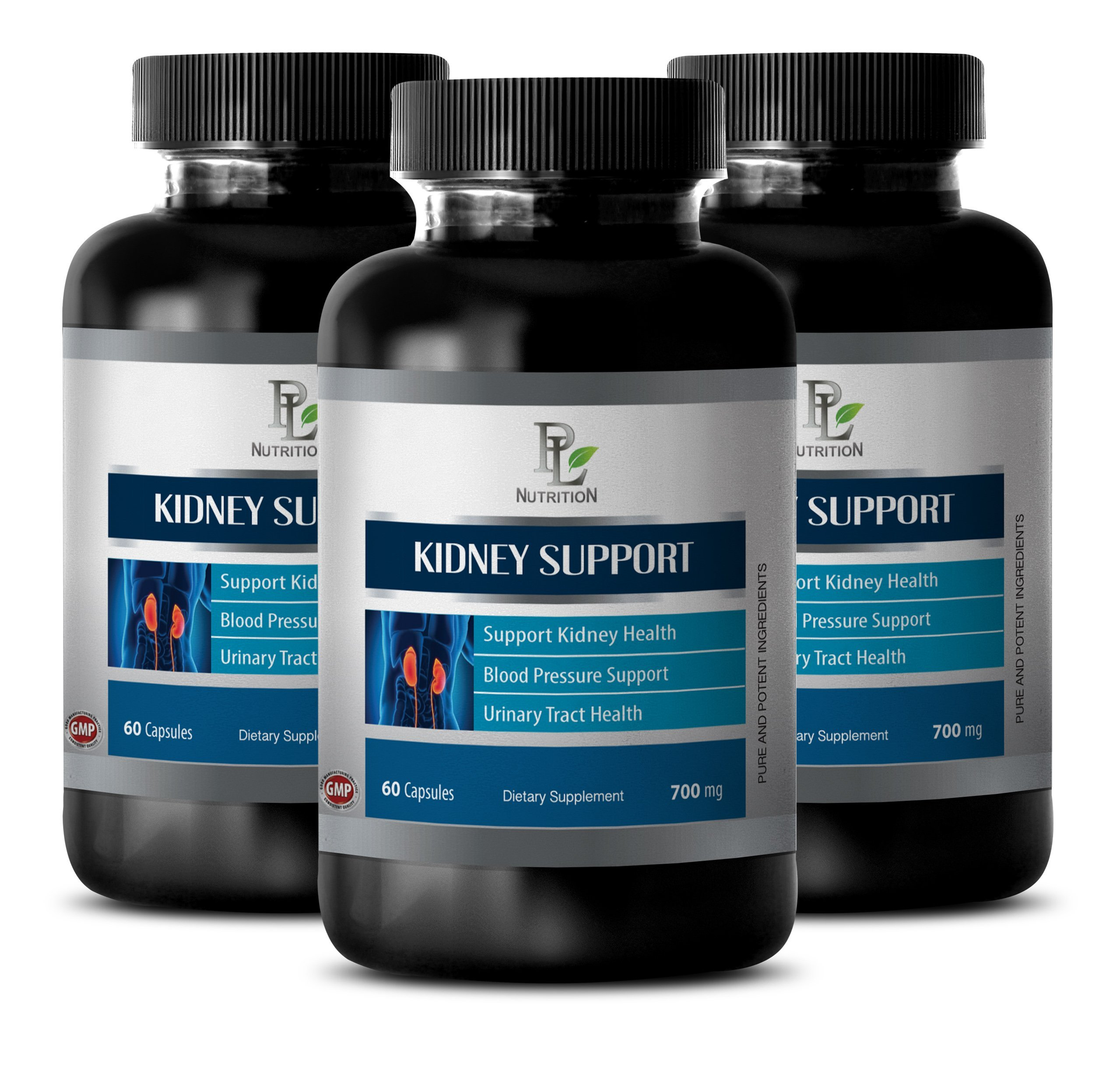 Healthy Urinary Tract Pure Formula - Kidney Support Complex - Female Urination - 3 Bottles 180 Capsules by PL NUTRITION