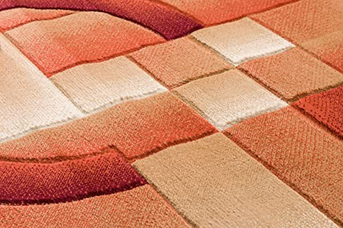 Well Woven Primo Shapes Orange Modern Geometric Boxes Lines Hand Carved Modern 2 x 7 2 3 x 7 3 Runner Area Rug Easy to Clean Stain Fade Resistant Contemporary Thick Soft Plush