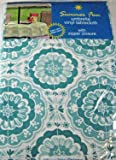 Summer Fun Flannel Back Vinyl Umbrella Tablecloths with Hole and Zipper- Sumburst of Medallions-Aqua and White--Assorted Sizes (52 x 70 Oblong)