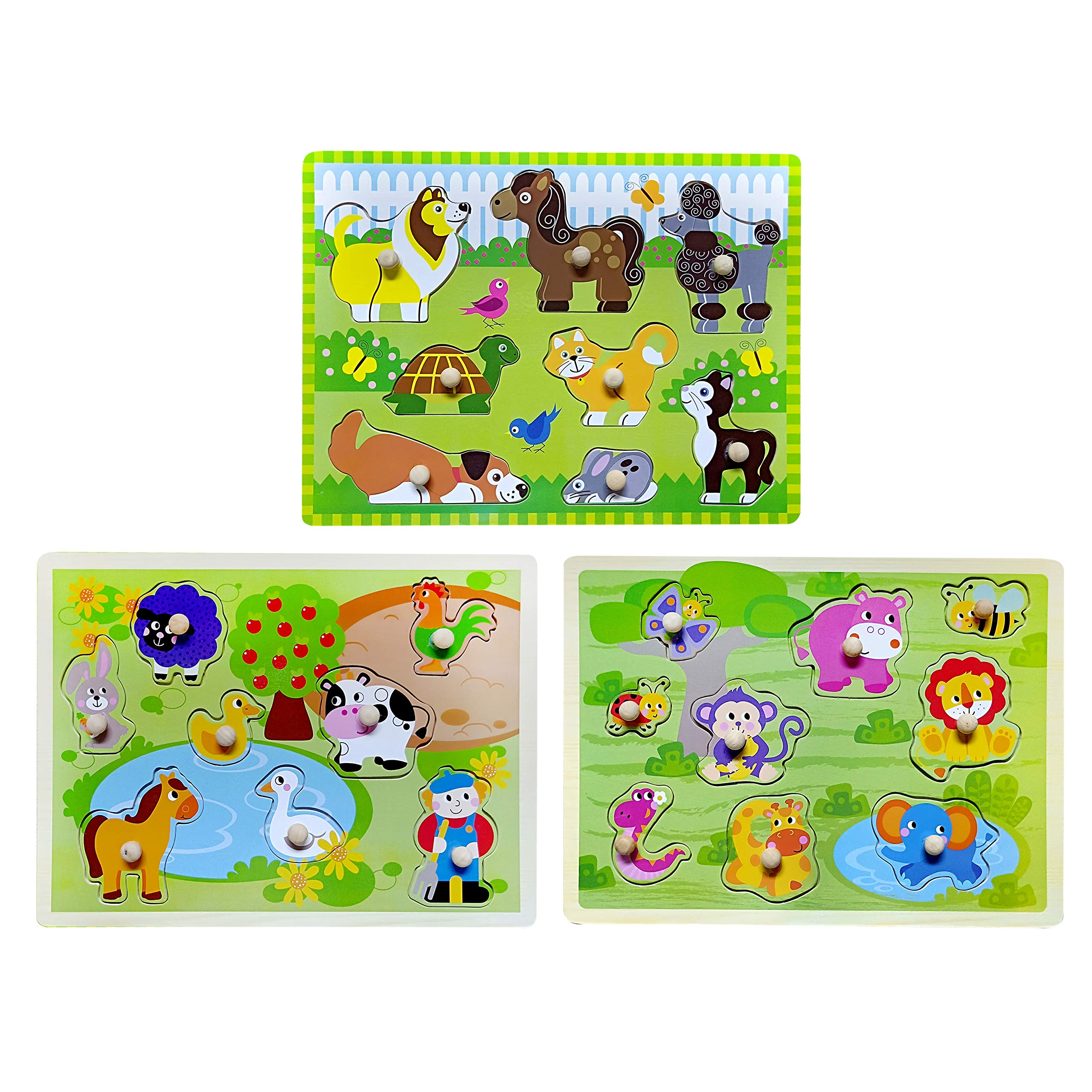 Toddler Puzzles Wooden Peg Puzzle 3 Sets - Farm, Pets and Jungle Animal Illustrations Learning Educational Toys for Toddlers Preschool 2 3 4 5 Years Old by Wallxin