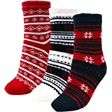 3 Pairs Cozy Cabin Socks for Women - Aloe Infused Moisturizing Fuzzy Fluffy Soft Holiday Christmas