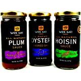Wok Mei Variety Set of 3 - Oyster, Hoisin and Plum Sauce - 8oz Jars Frustration Free Packaging