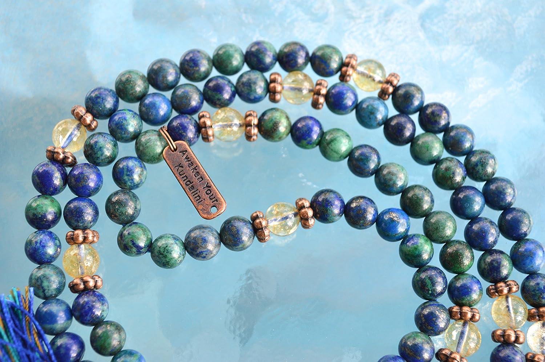 Azurite Tassel Necklace Third Eye Activation Genuine 108 Azurite and Citrine Mala Beads Necklace Stimulates Spiritual /& Psychic Gifts