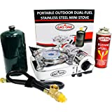 GAS ONE NEW GS-800P MINI Dual Fuel Stainless Portable Propane & Butane Camping and Backpacking Gas Stove Burner with piezo ignition and Carrying Case