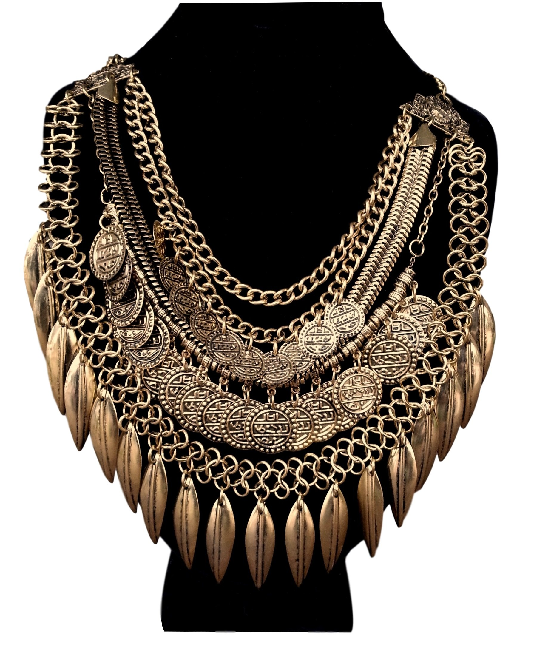 Pashal Indian, Tribal & Bohemian Style Hanging Coin Statement Bib Collar Necklace