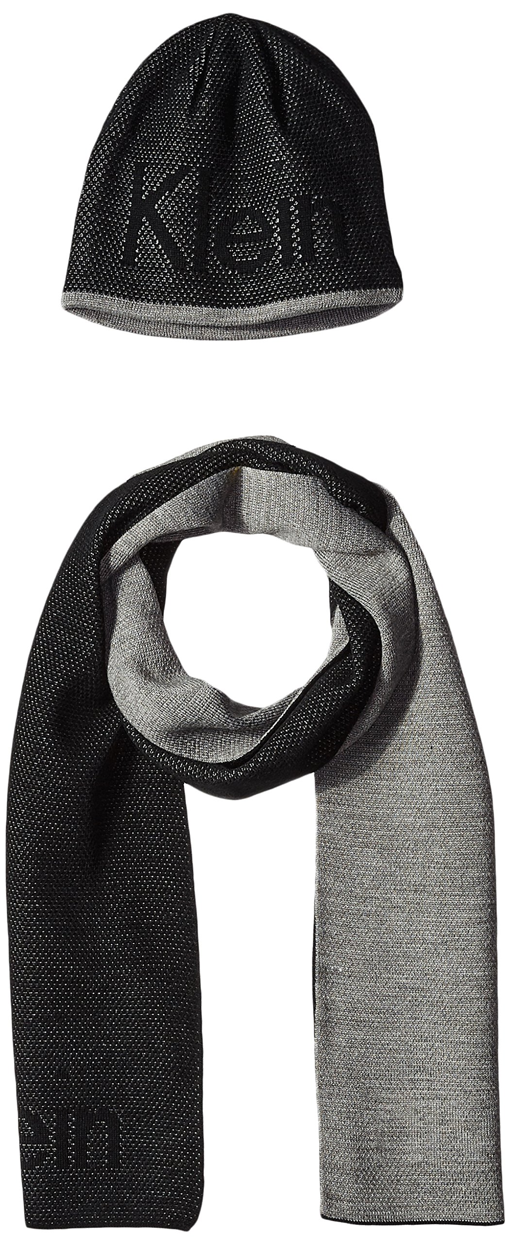 Calvin Klein Men's Hat and Scarf Set, Black/Light Gray, One Size