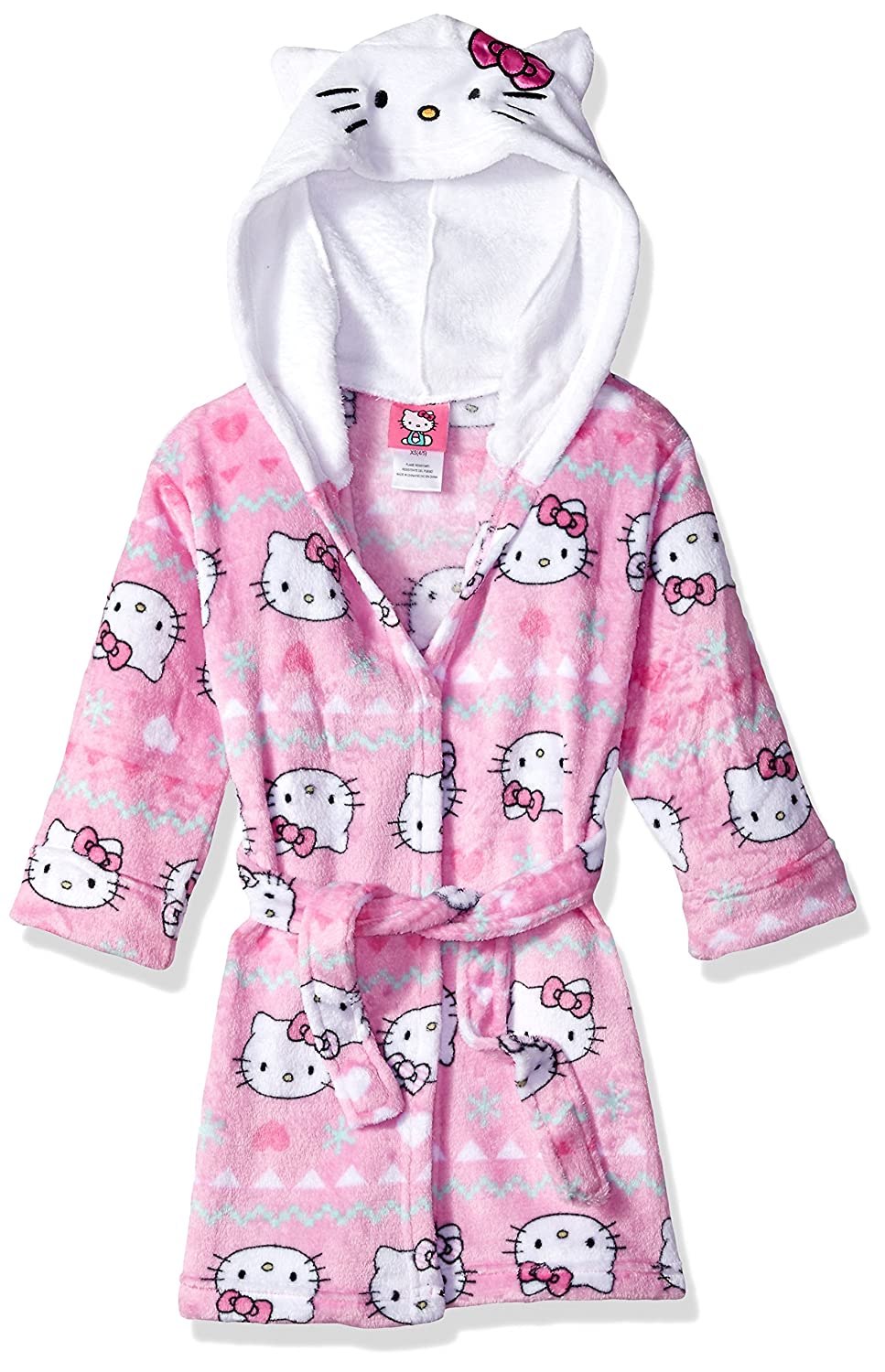 4ffb4f5a1 Amazon.com: Hello Kitty Girls' Big Snowflake Hooded Robe, Pink Small:  Clothing