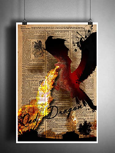 Red Dragon Art Print With Dragon Dictionary Definition by Amazon
