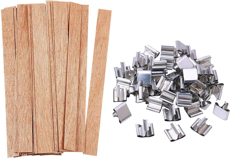 Pack de 50 pabilos de madera y base para velas (13 x 1,3 cm)